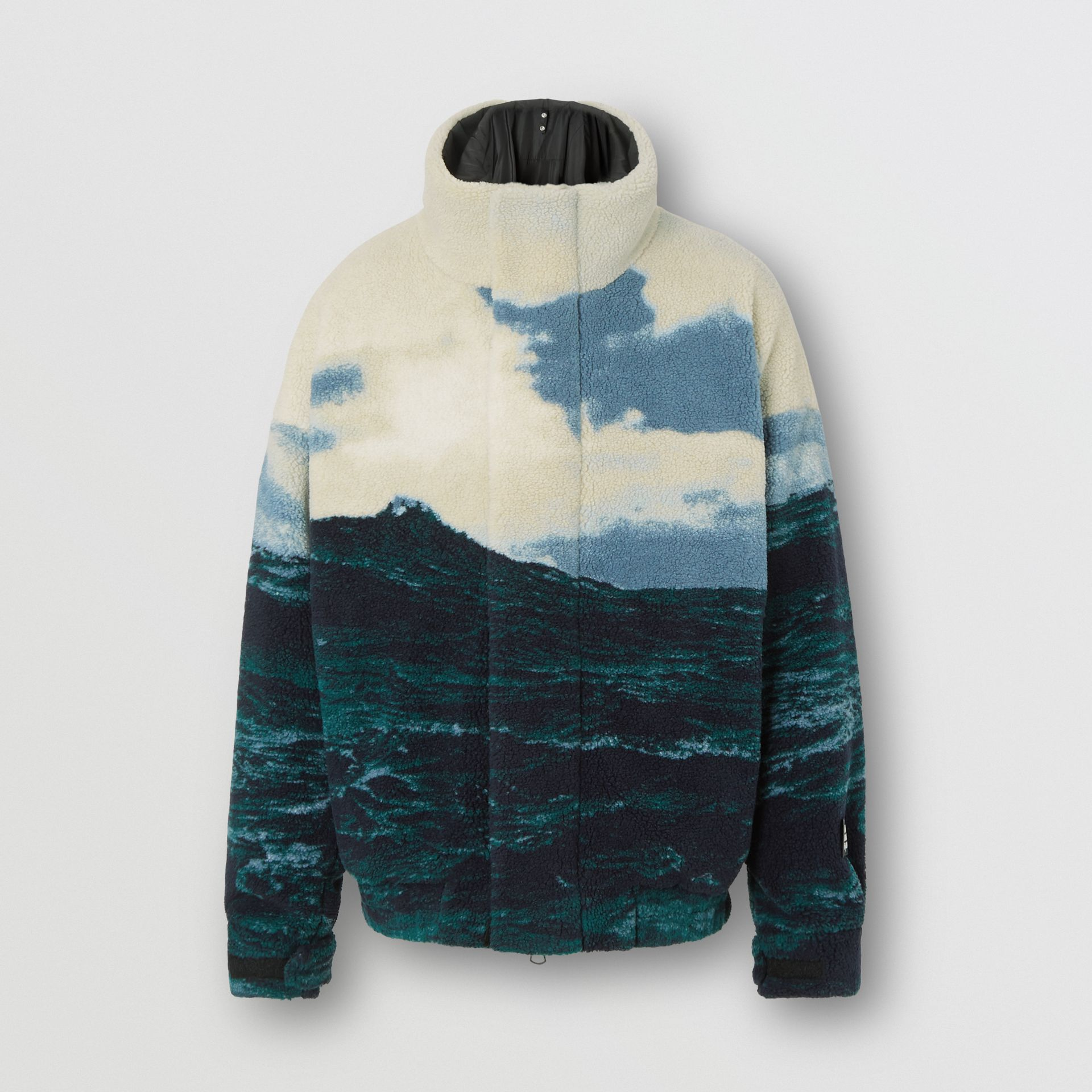 Sea Print Fleece Jacket with Detachable Warmer in Deep Teal - Men | Burberry - gallery image 3