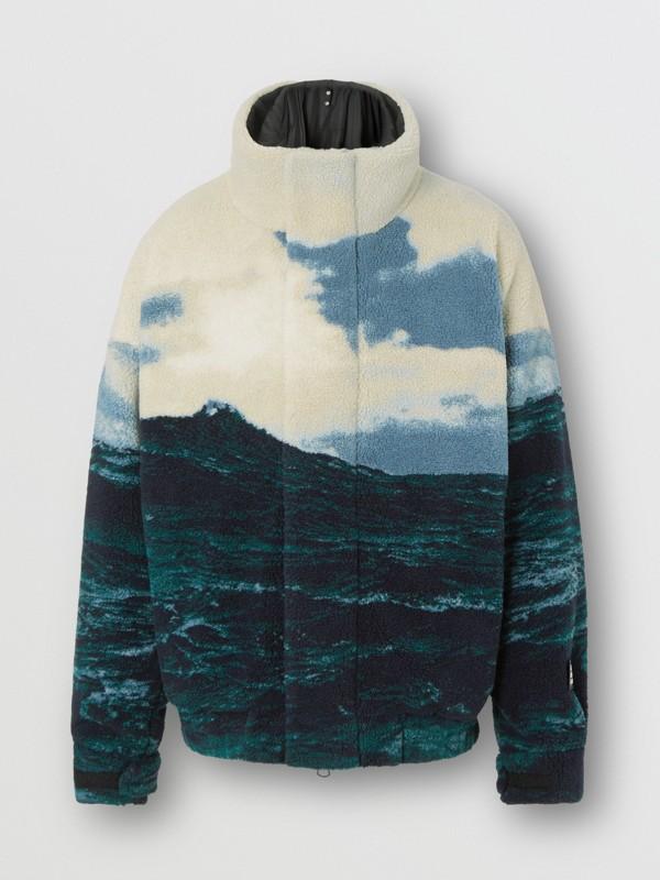 Sea Print Fleece Jacket with Detachable Warmer in Deep Teal - Men | Burberry - cell image 3