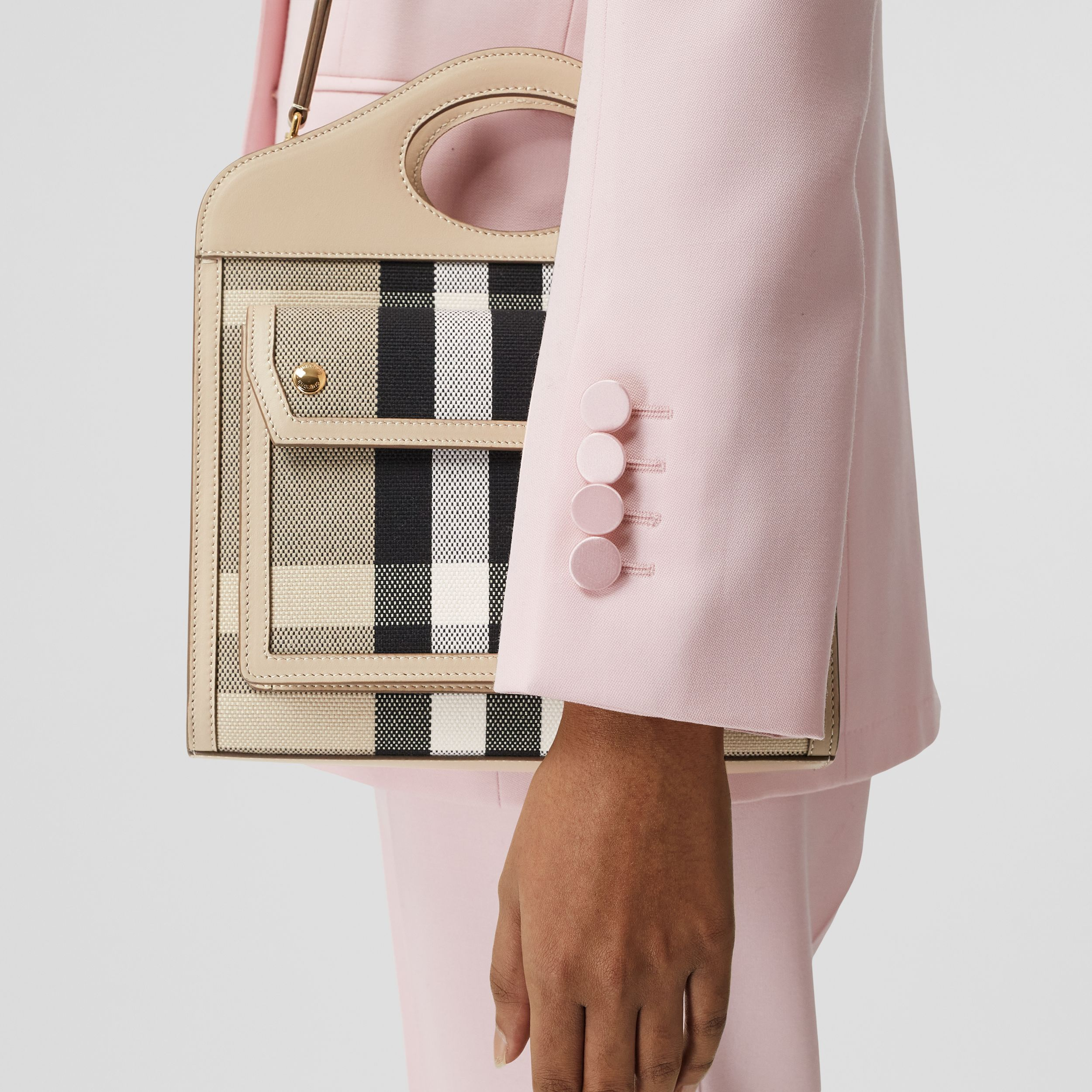 Mini Check Canvas and Leather Pocket Bag in Dusty Sand/soft Fawn - Women | Burberry Singapore - 3