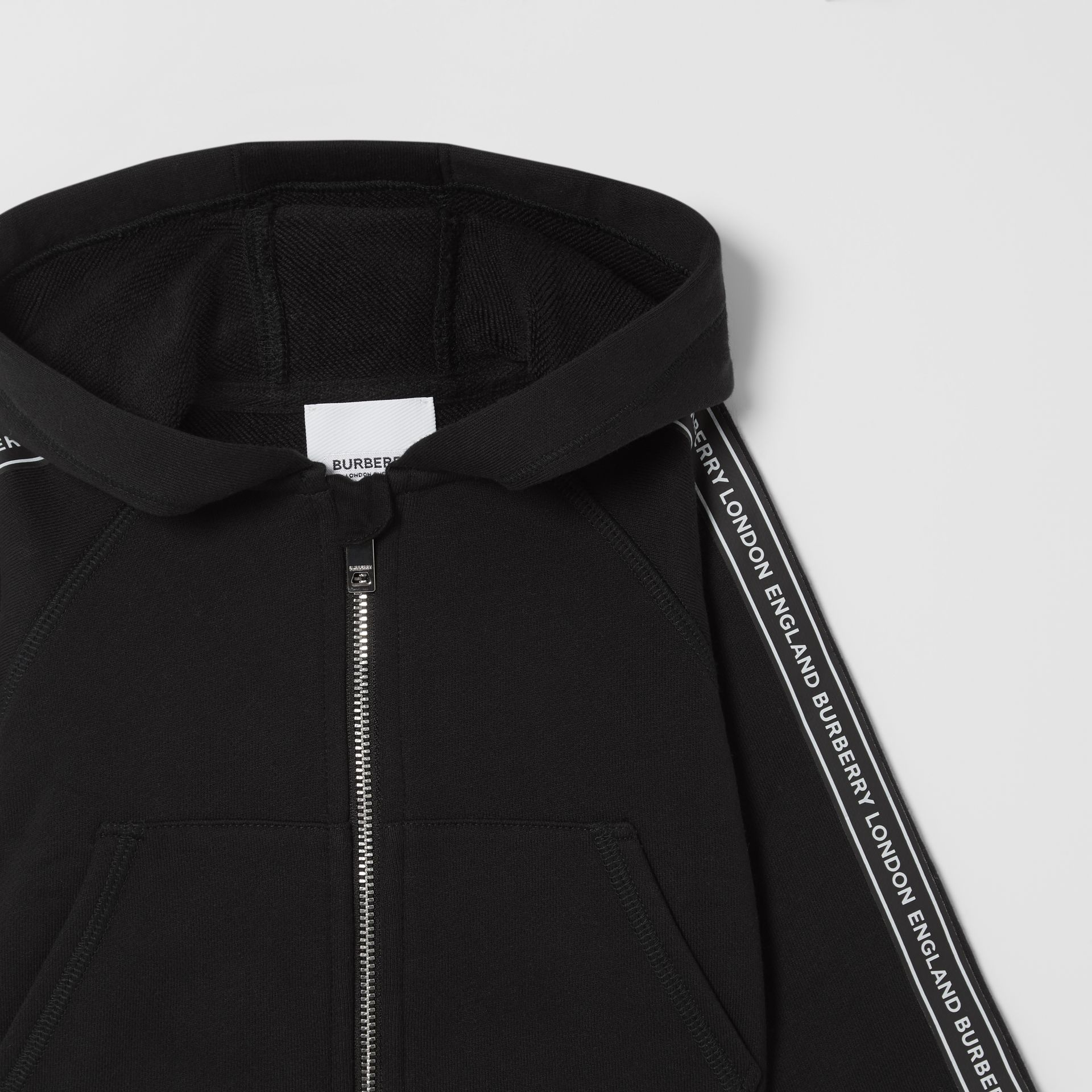 Logo Tape Cotton Hooded Top in Black - Children | Burberry - gallery image 5