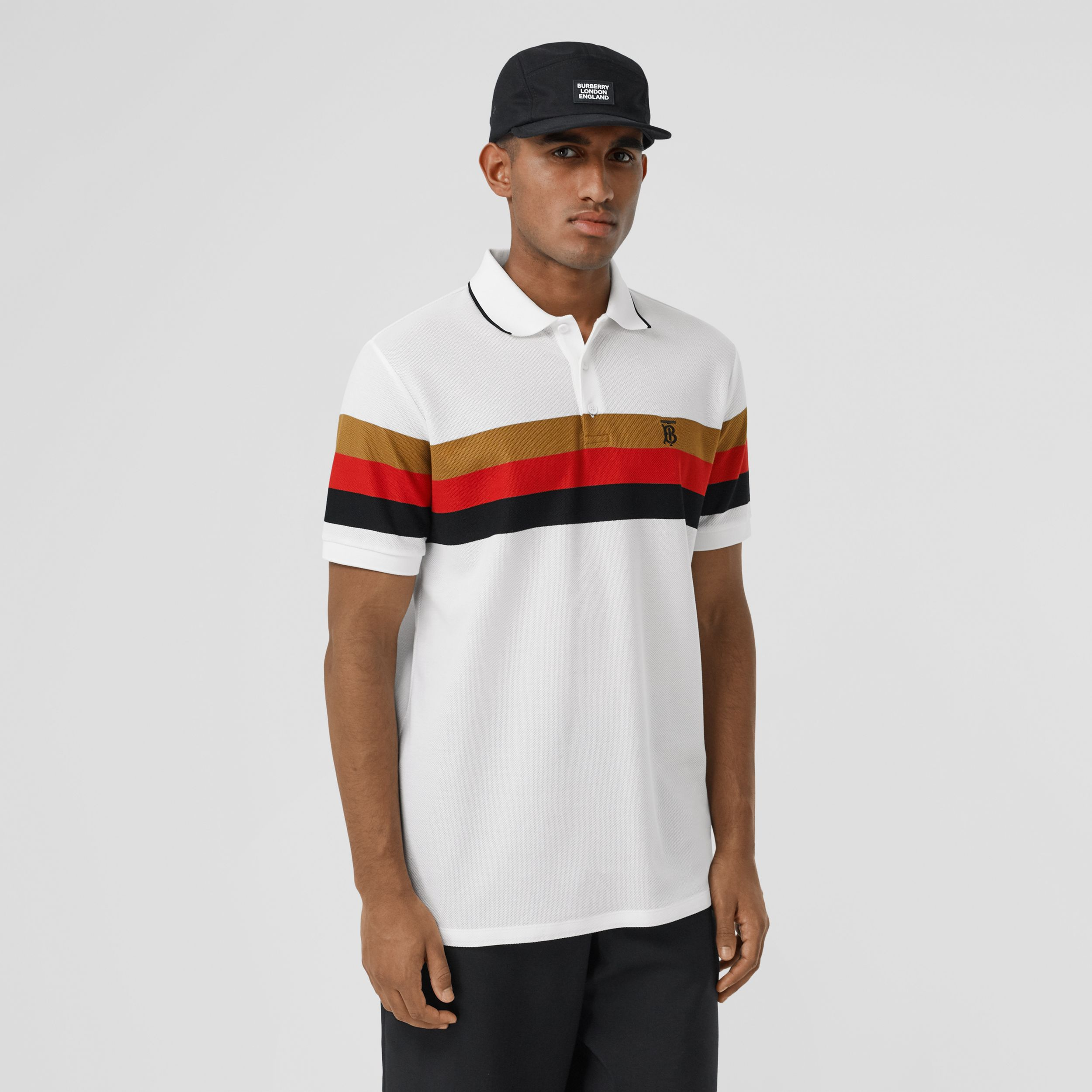Monogram Motif Striped Cotton Polo Shirt in White - Men | Burberry - 1