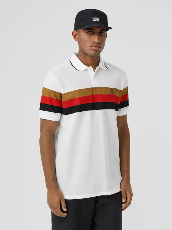 Monogram Motif Striped Cotton Polo Shirt in White