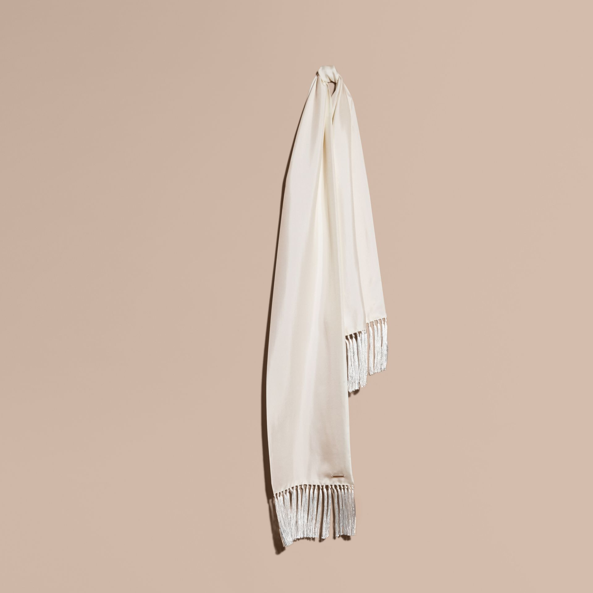 Tasselled Silk Scarf in White - gallery image 1