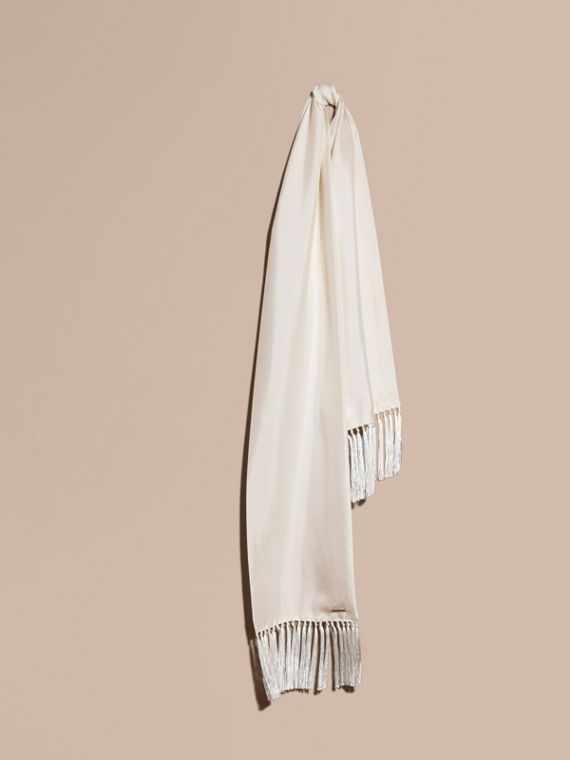 Tasselled Silk Scarf White