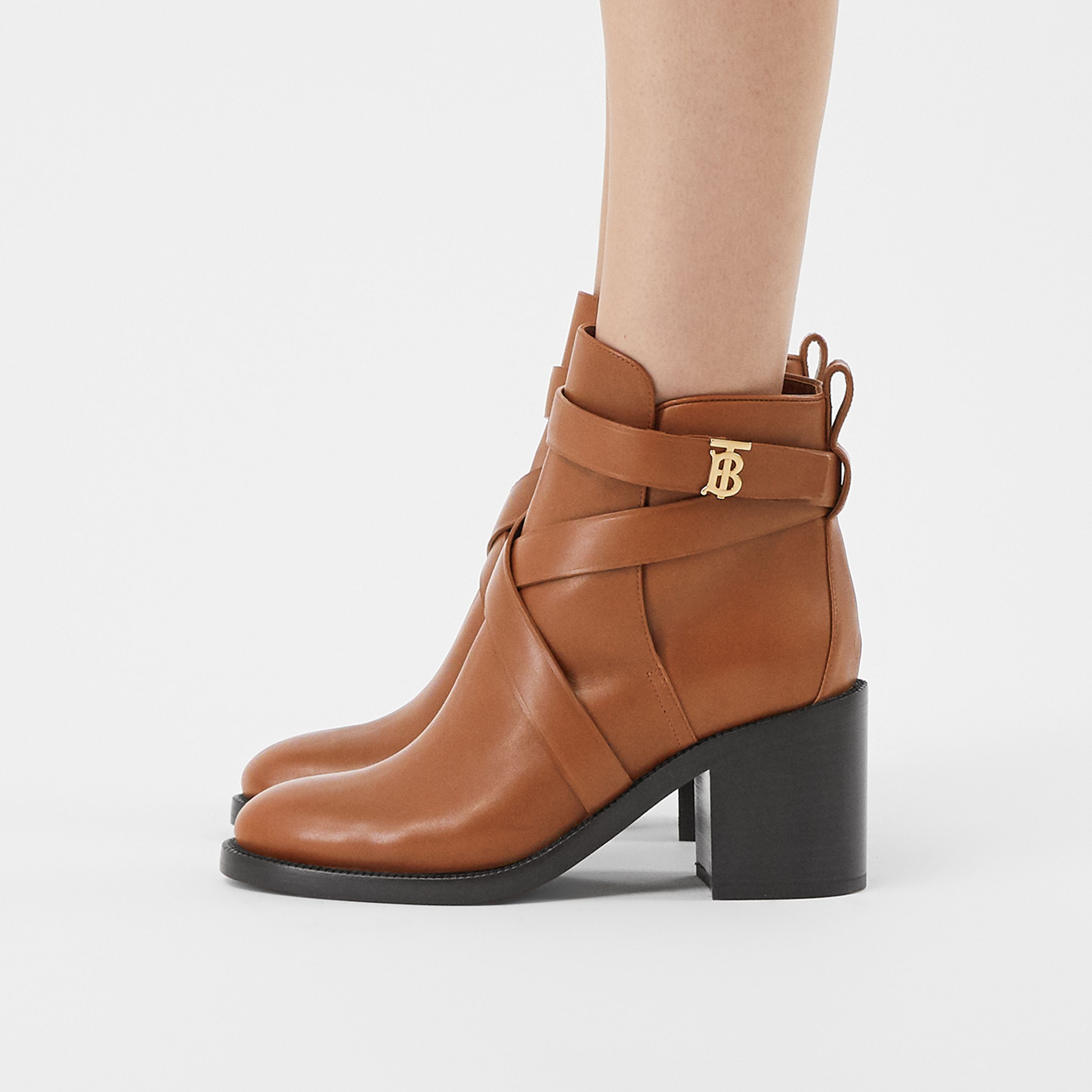 Monogram Motif Leather Ankle Boots in Tan - Women | Burberry United Kingdom - 3