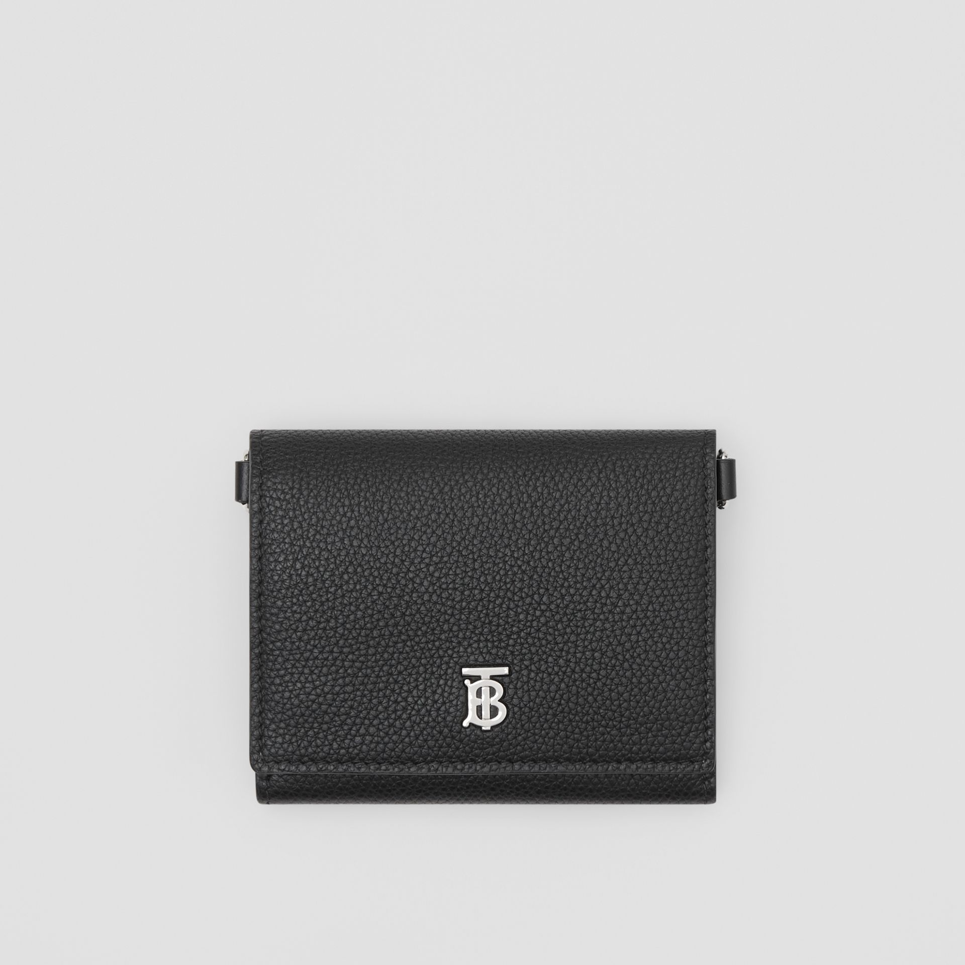Small Grainy Leather Wallet with Detachable Strap in Black | Burberry United States - gallery image 6