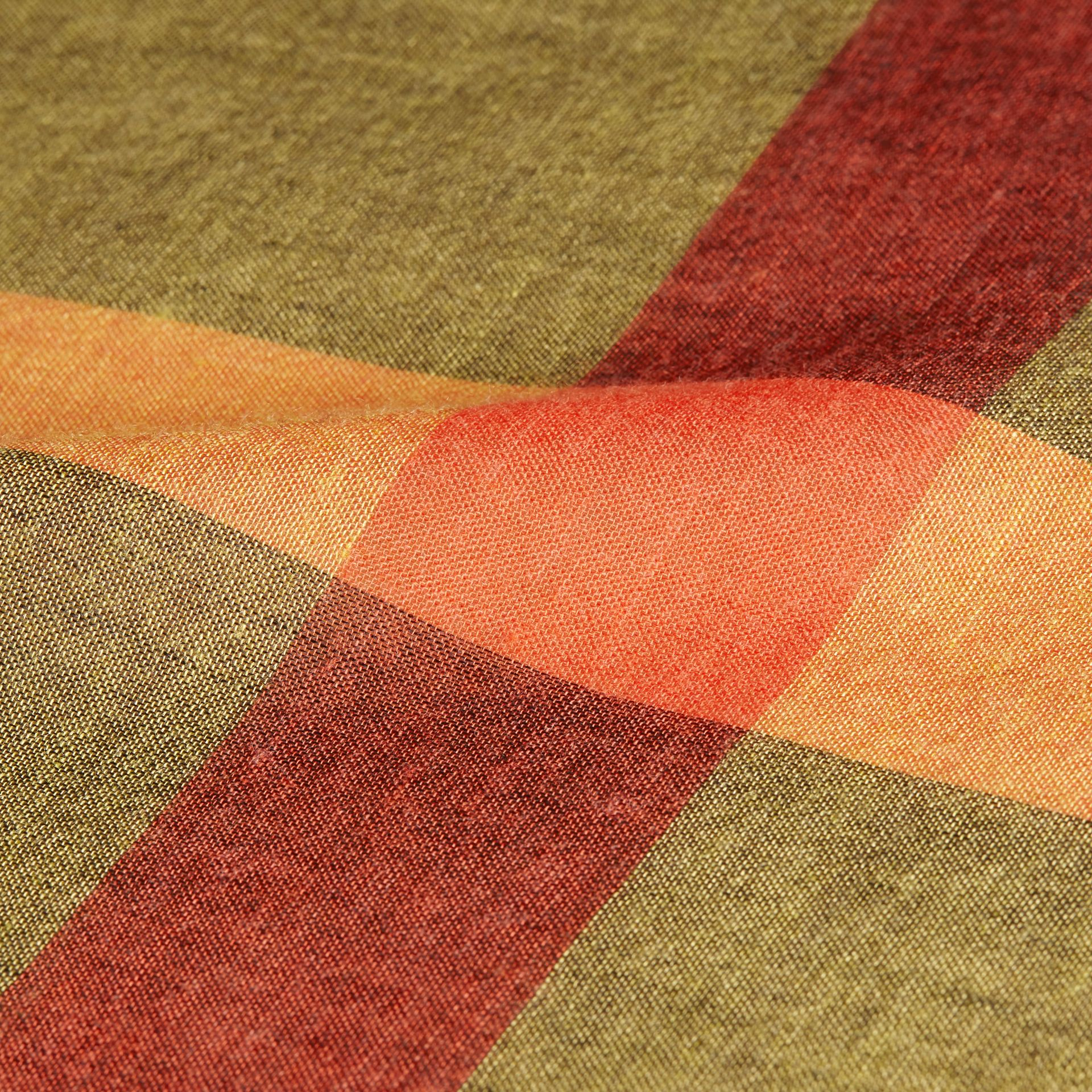 Check Modal and Wool Square Scarf in Amber Yellow - Women | Burberry - gallery image 2