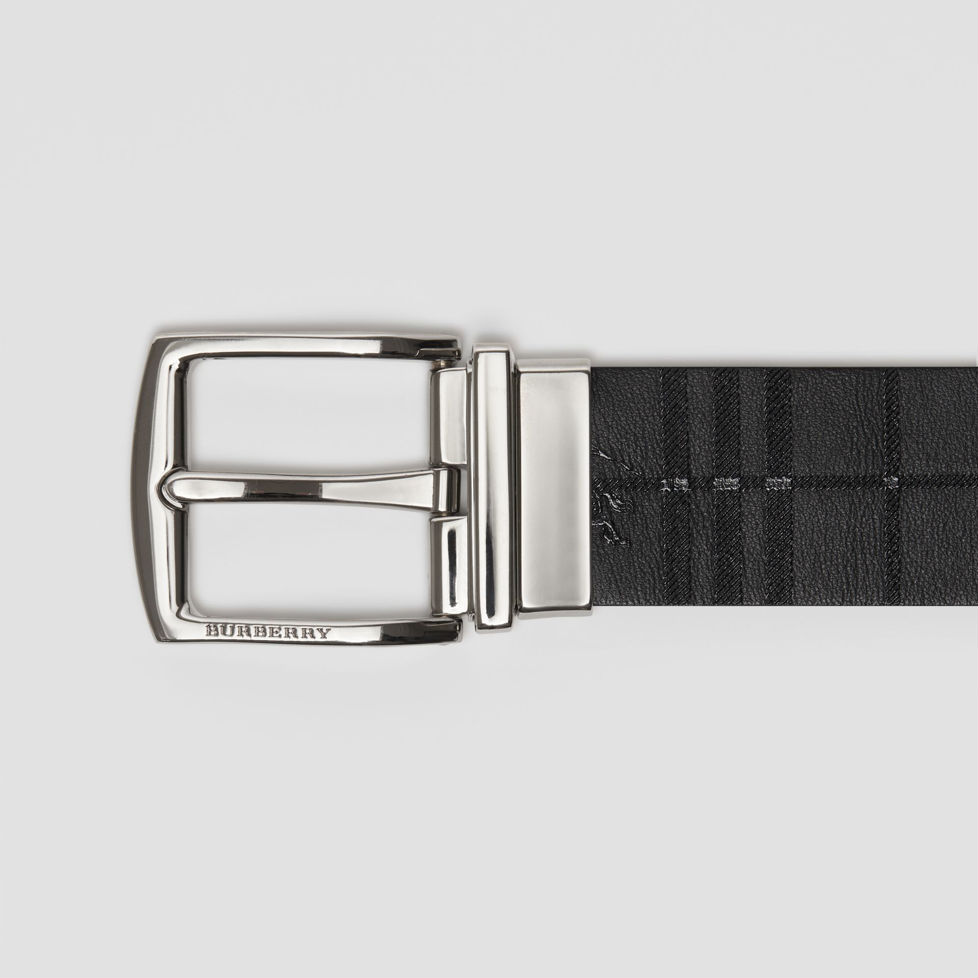 Reversible EKD Check Leather Belt in Chocolate/black - Men | Burberry - gallery image 1