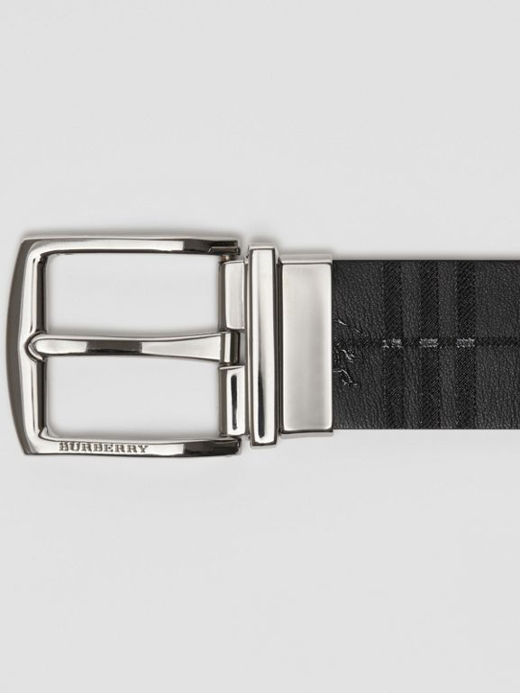 Reversible EKD Check Leather Belt in Chocolate/black - Men | Burberry - cell image 1