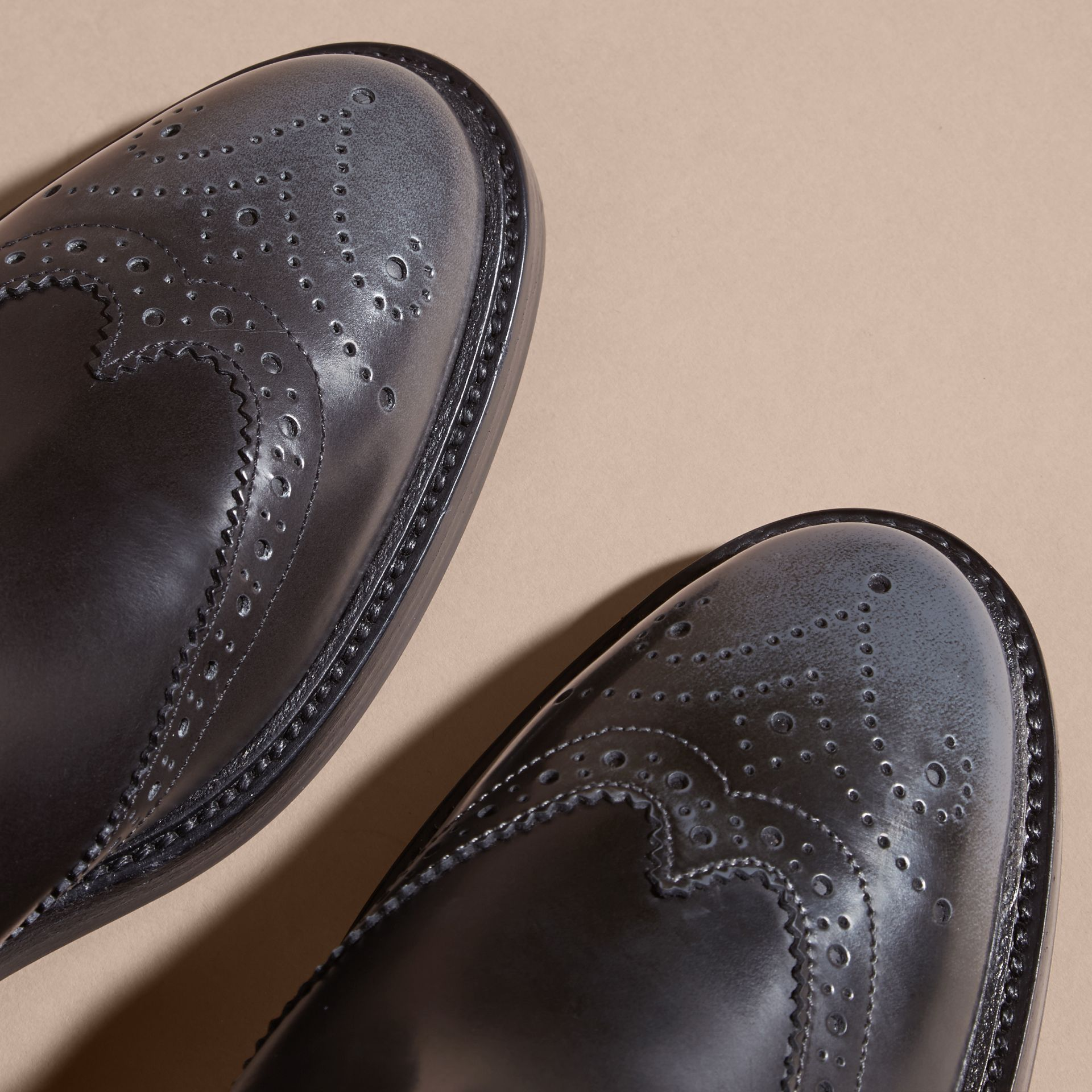 Ink grey Burnished Leather Wingtip Chelsea Boots - gallery image 5