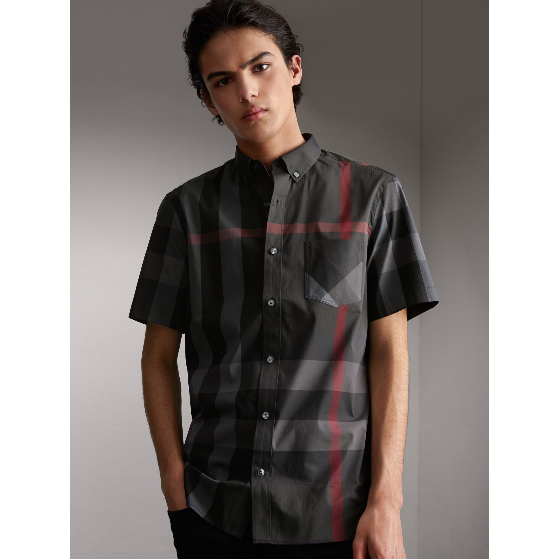 Short-sleeve Check Stretch Cotton Blend Shirt in Charcoal - Men | Burberry Singapore - gallery image 1