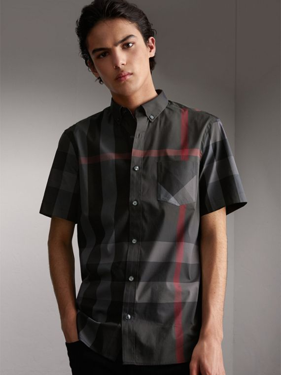 Short-sleeve Check Stretch Cotton Blend Shirt in Charcoal