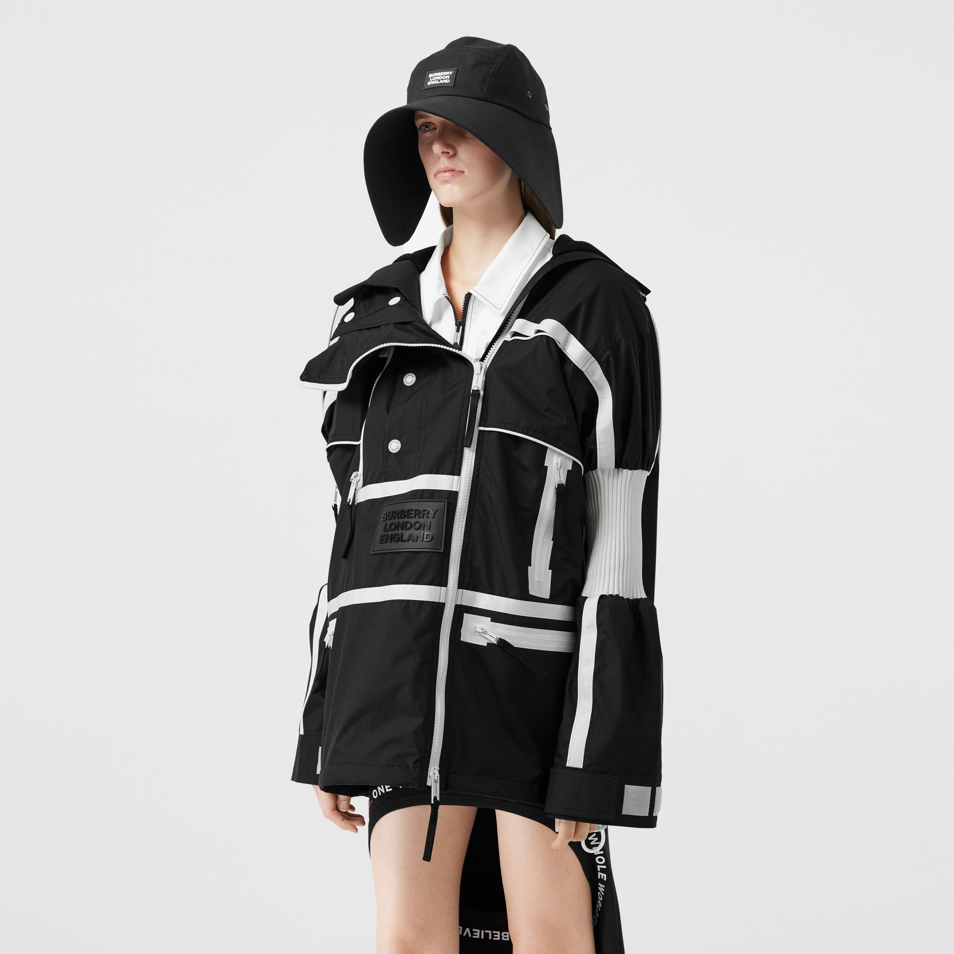 Two-tone Nylon Reconstructed Track Jacket in Black - Women | Burberry - gallery image 6