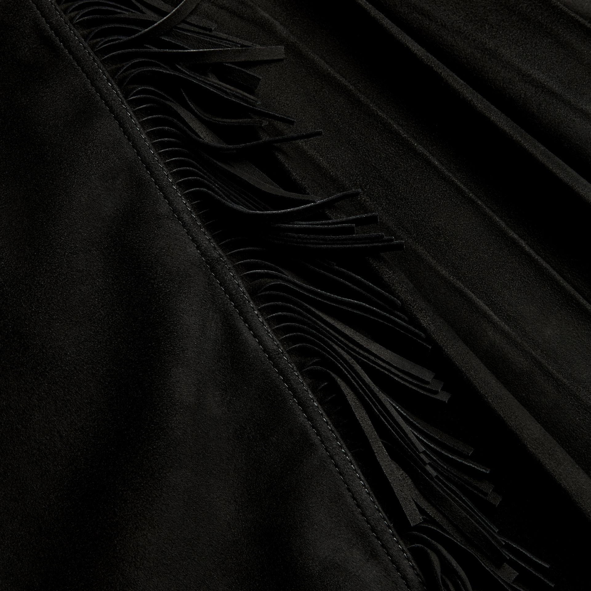 Black Fringed Suede Kilt - gallery image 2
