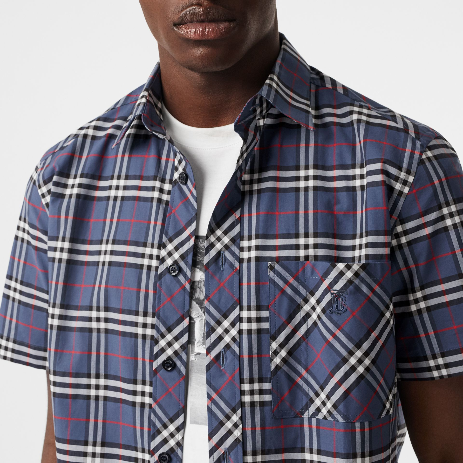 Short-sleeve Small Scale Check Stretch Cotton Shirt in Carbon Blue - Men | Burberry Australia - gallery image 1