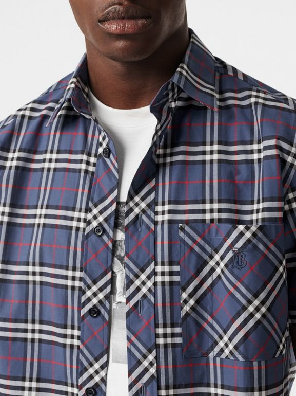 Short-sleeve Small Scale Check Stretch Cotton Shirt in Carbon Blue - Men | Burberry - cell image 1