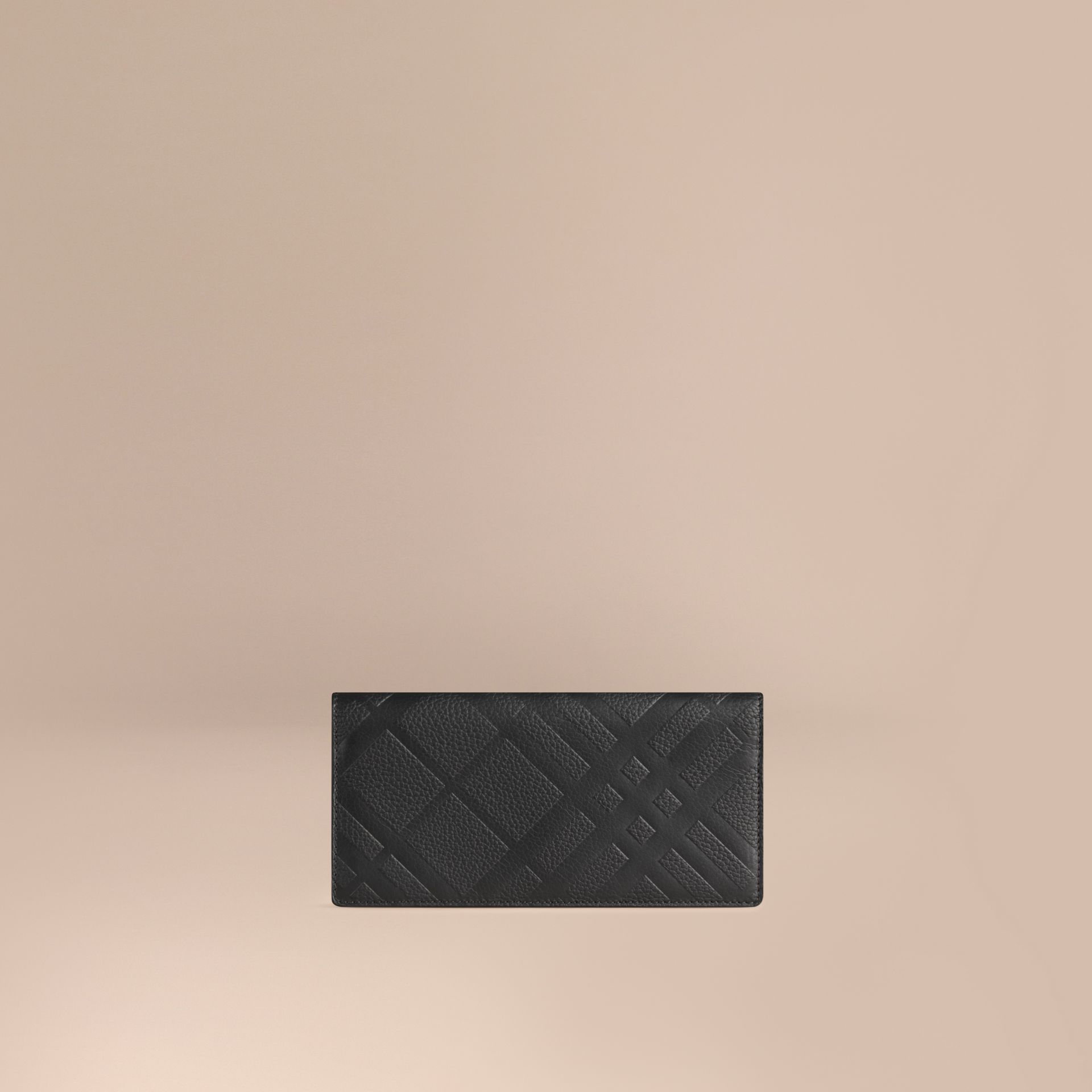 Black Embossed Check Leather Continental Wallet Black - gallery image 1
