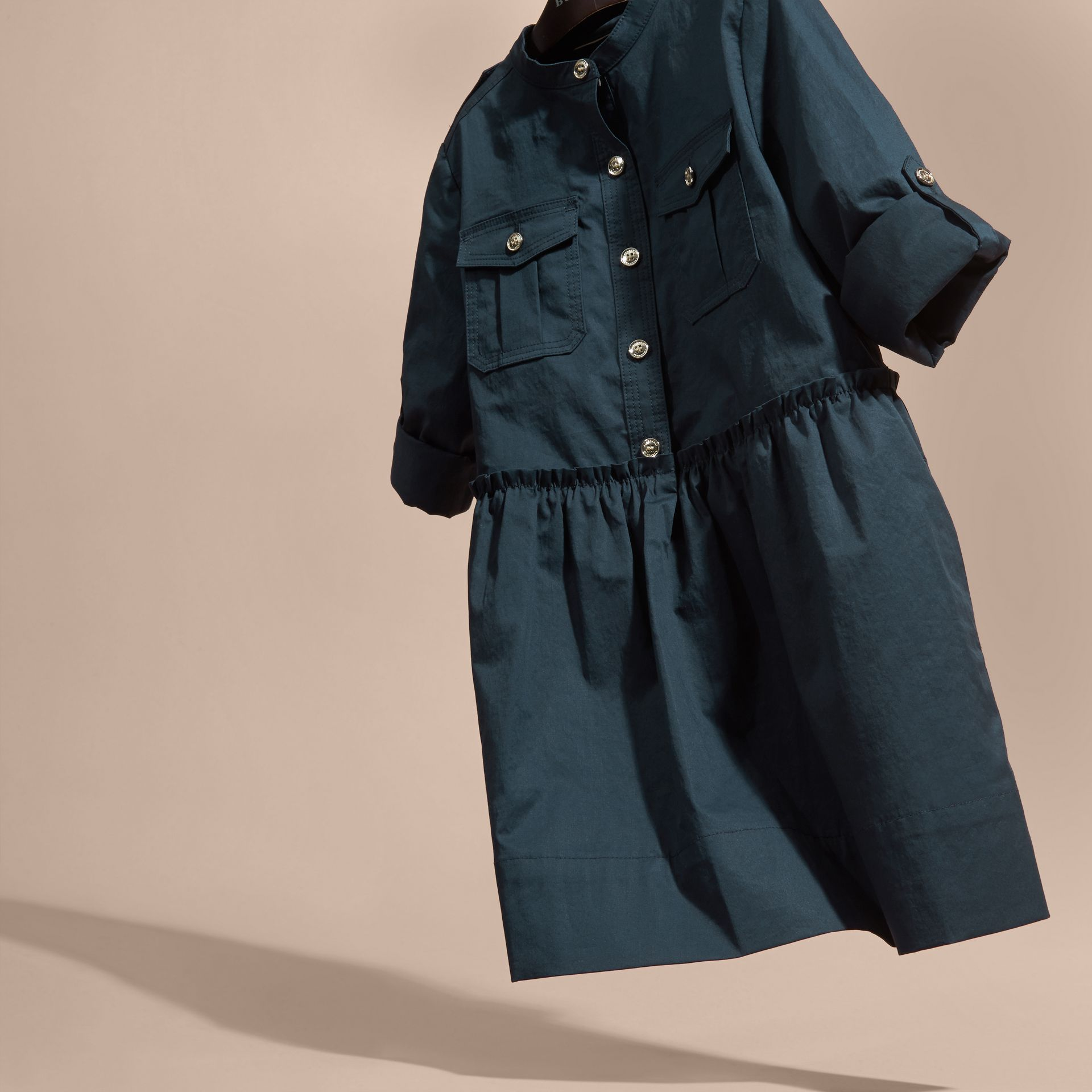 Dark pewter blue Stretch Cotton Military Shirt Dress - gallery image 3