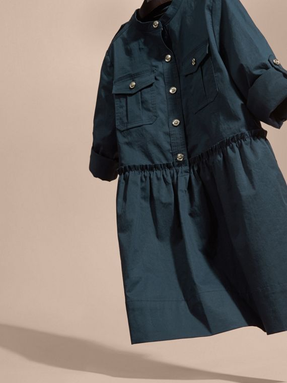 Dark pewter blue Stretch Cotton Military Shirt Dress - cell image 2