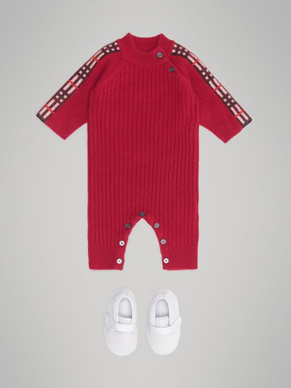 Check Detail Cashmere Jumpsuit in Burgundy Red - Children | Burberry United Kingdom - cell image 2