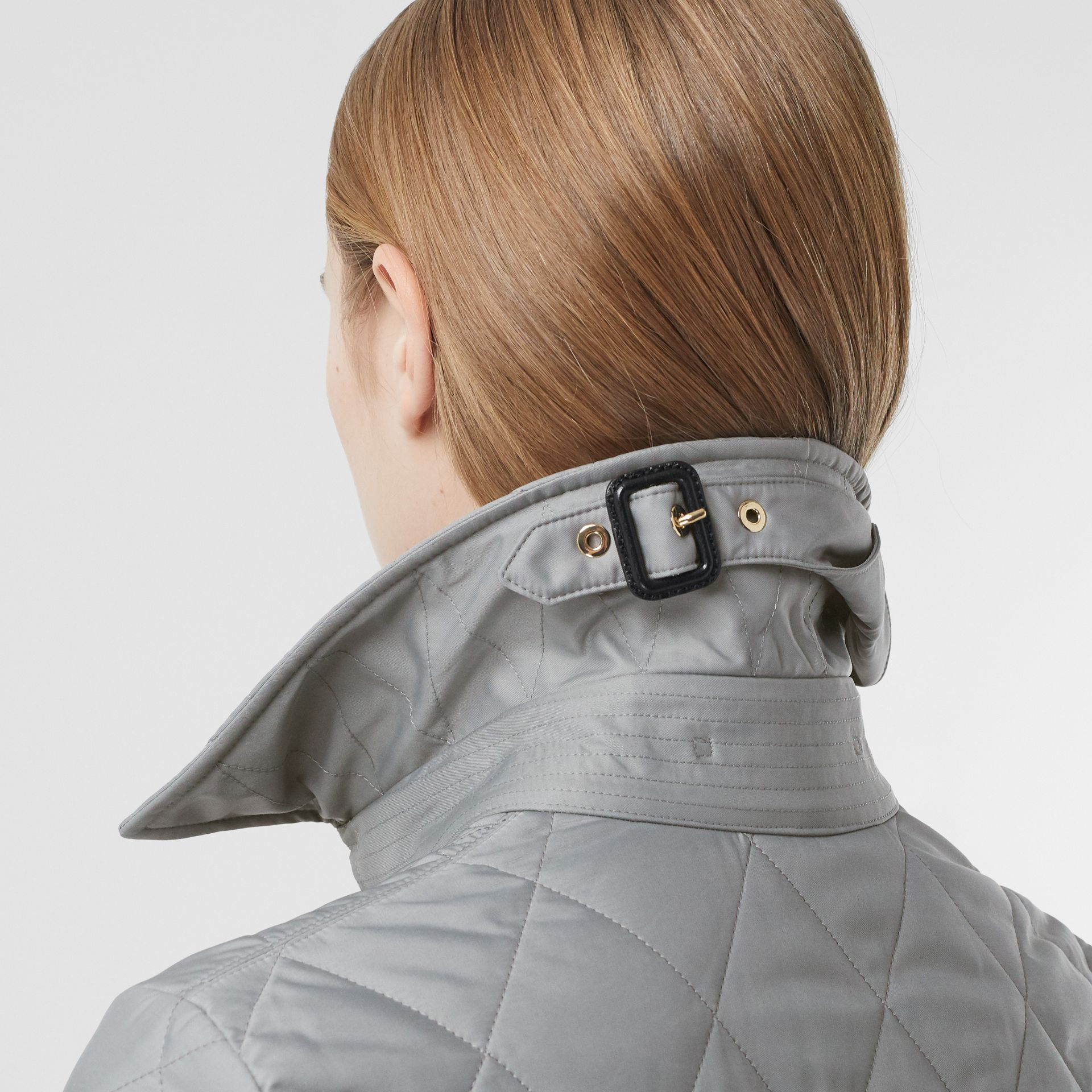 Diamond Quilted Thermoregulated Jacket in Mid Grey - Women | Burberry - gallery image 5