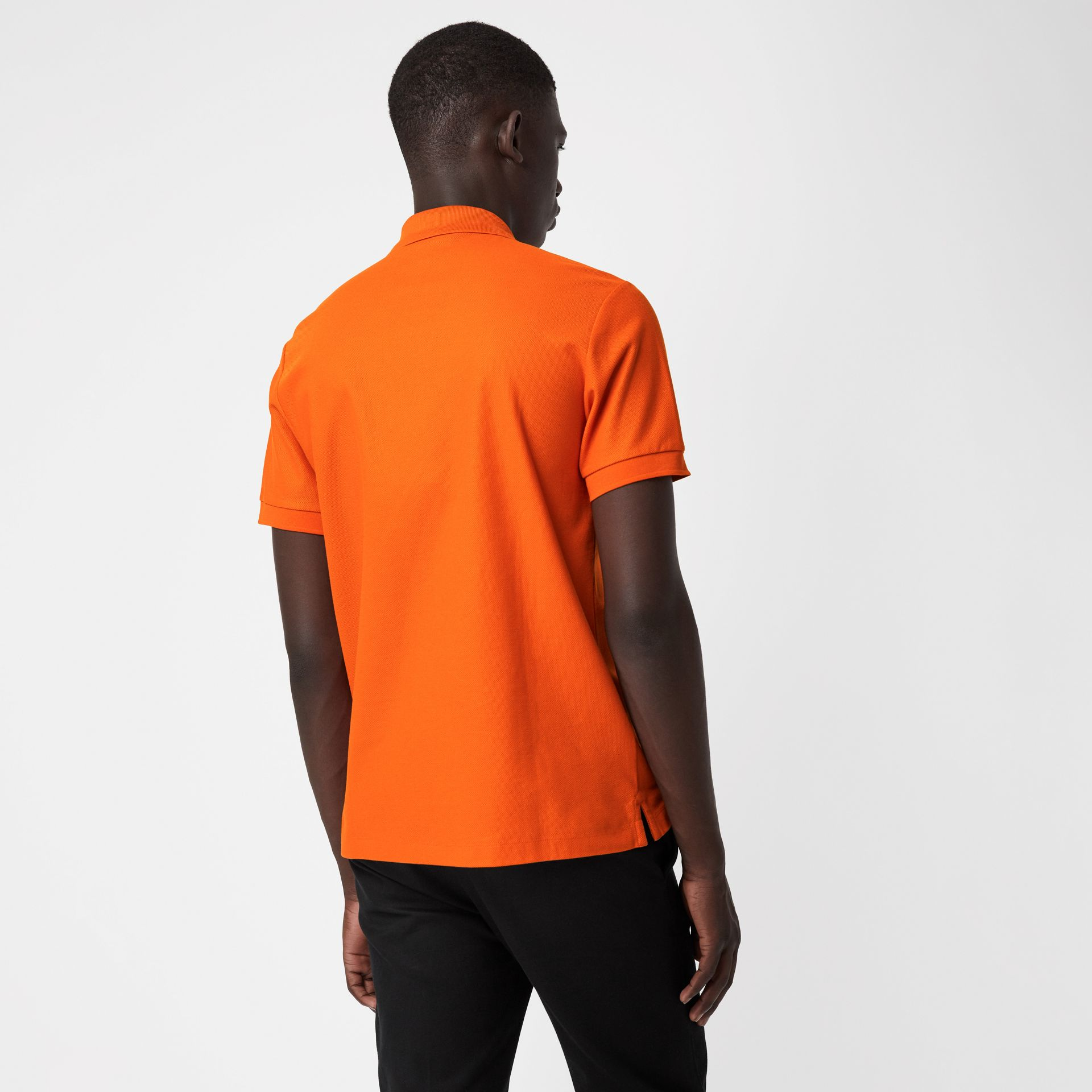 Archive Logo Cotton Piqué Polo Shirt in Clementine - Men | Burberry - gallery image 2