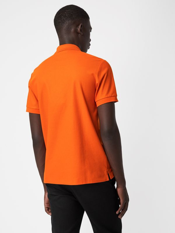 Archive Logo Cotton Piqué Polo Shirt in Clementine - Men | Burberry - cell image 2