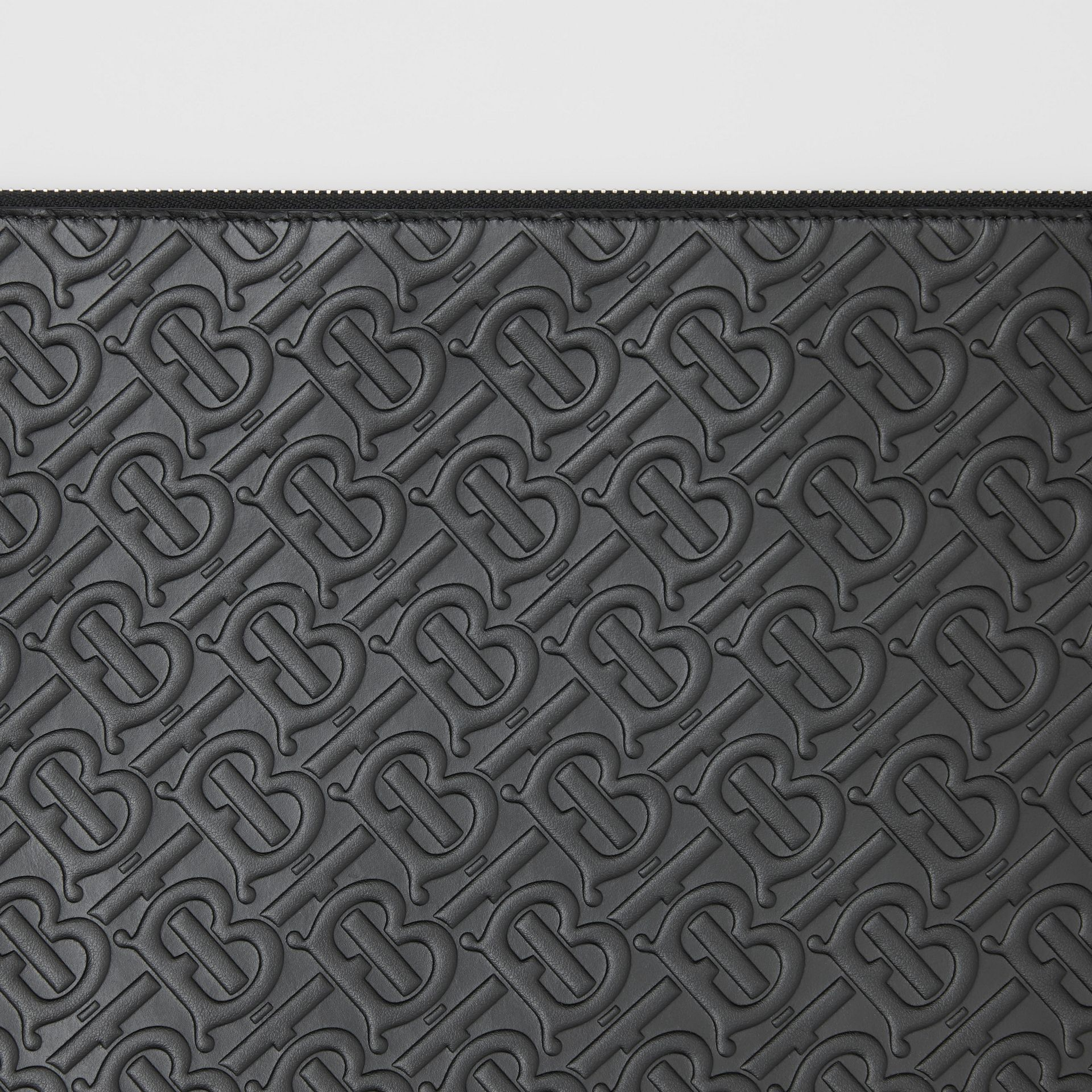 Large Monogram Leather Zip Pouch in Black | Burberry United Kingdom - gallery image 1