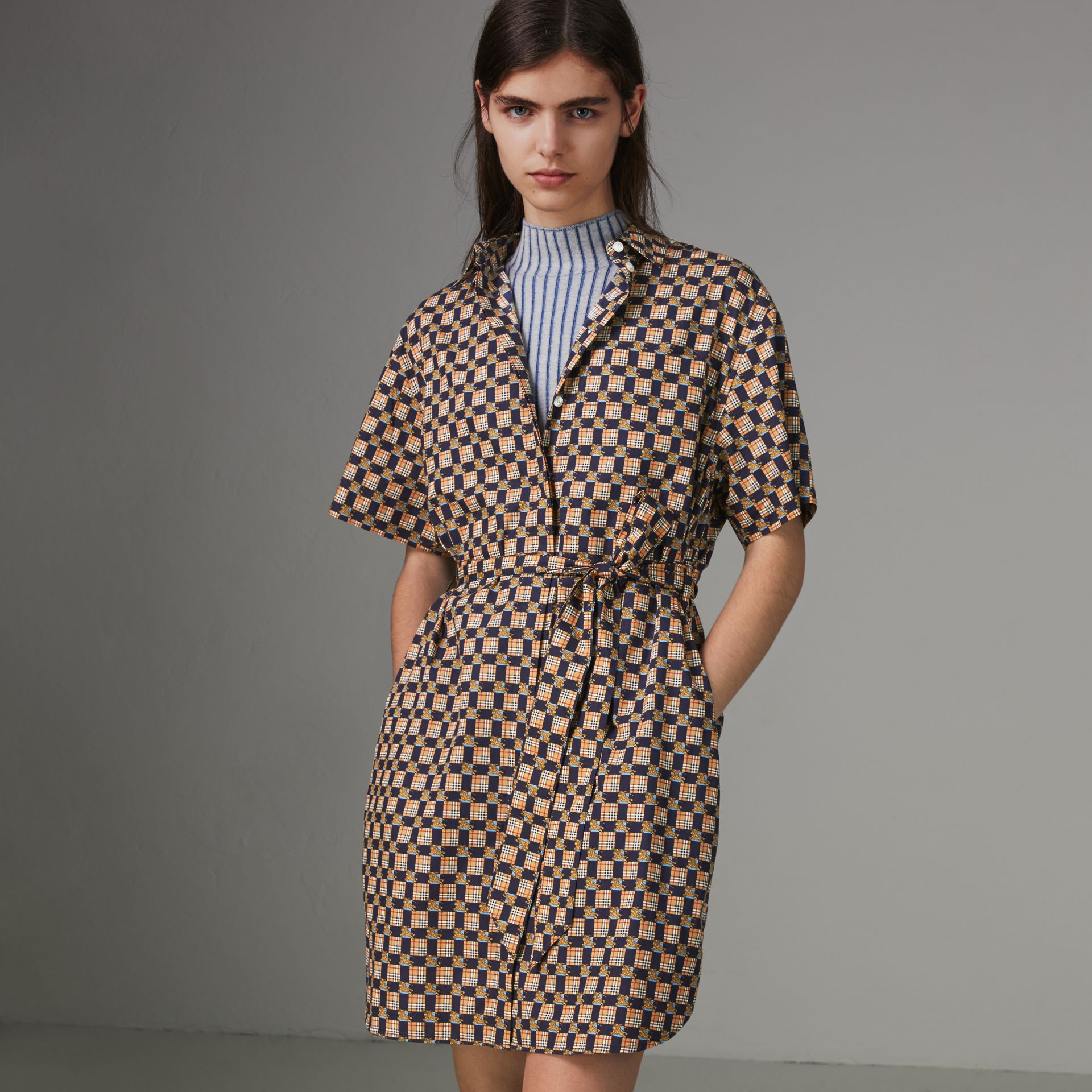 Tiled Archive Print Cotton Shirt Dress in Navy - Women | Burberry - gallery image 0