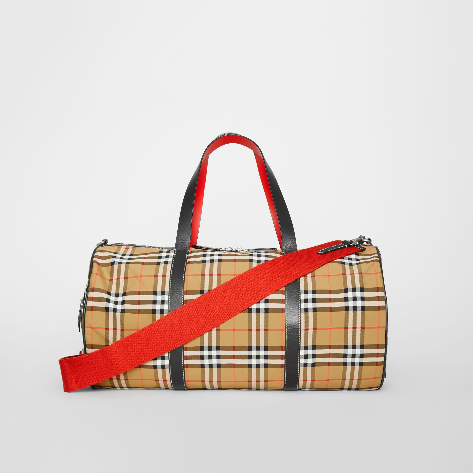 Large Vintage Check and Leather Barrel Bag in Antique Yellow - Men | Burberry Australia - gallery image 7