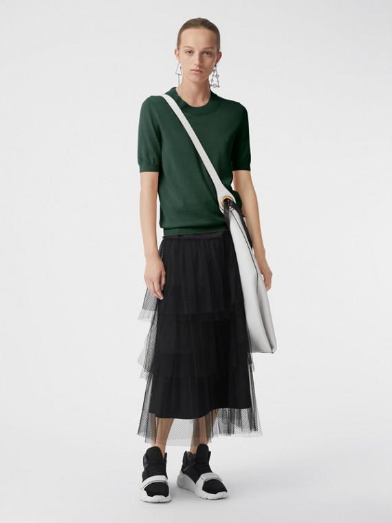 Jersey con cuello redondo en lana de merino (Verde Bosque Oscuro)
