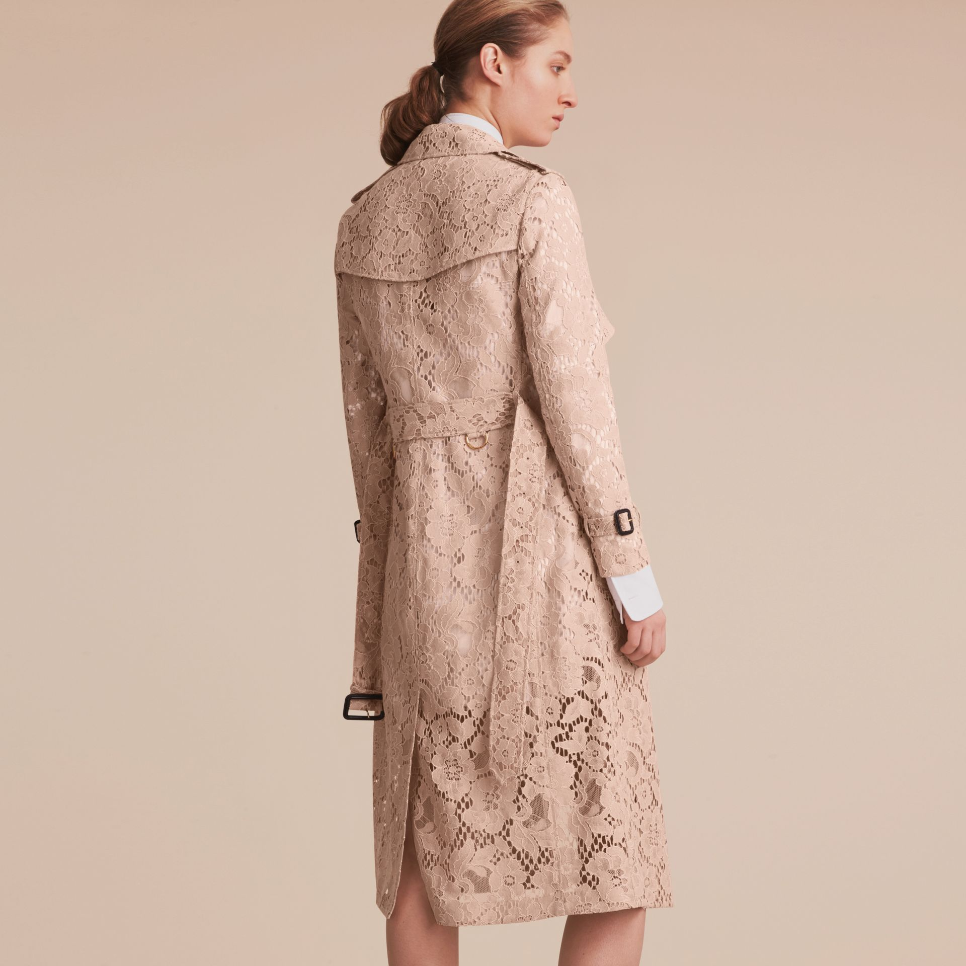 Macramé Lace Wrap Trench Coat - gallery image 3