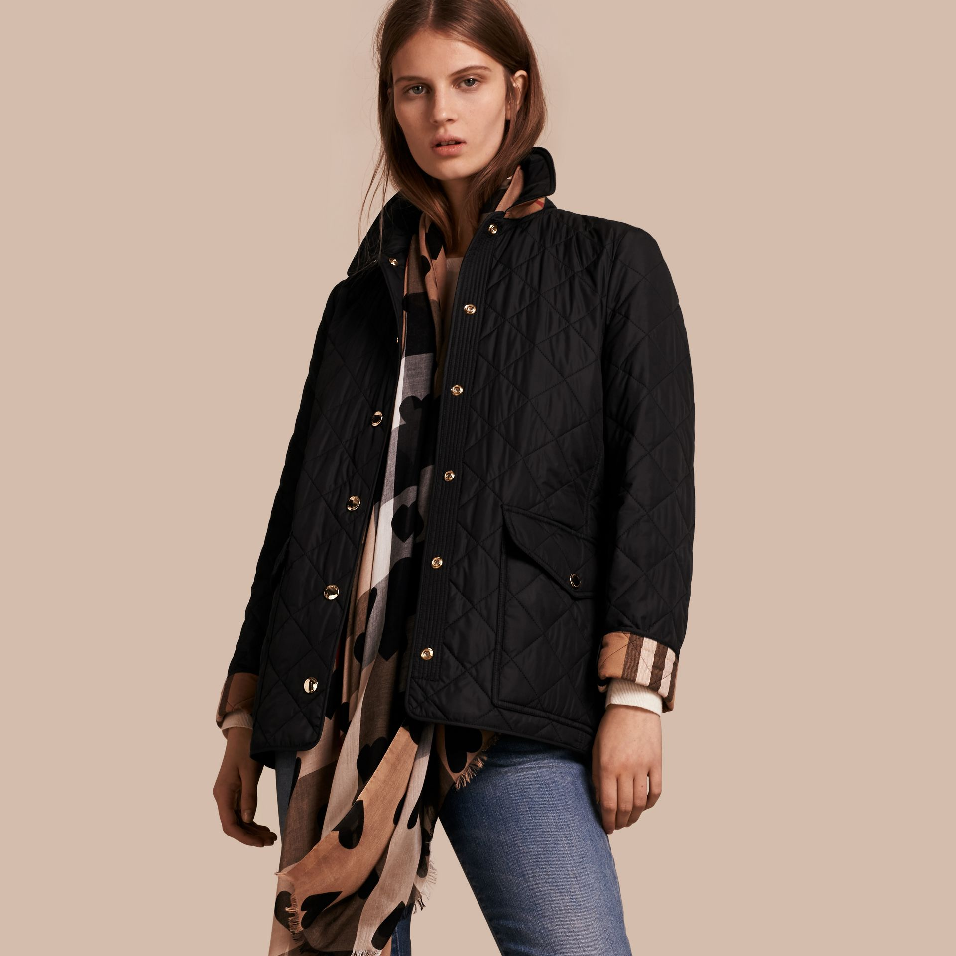 Black Check Lined Diamond Quilted Jacket Black - gallery image 1