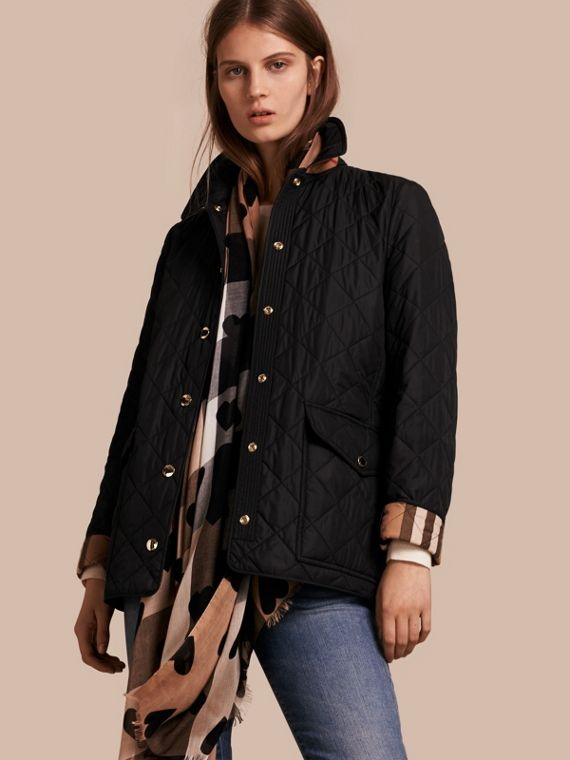 Check Lined Diamond Quilted Jacket Black