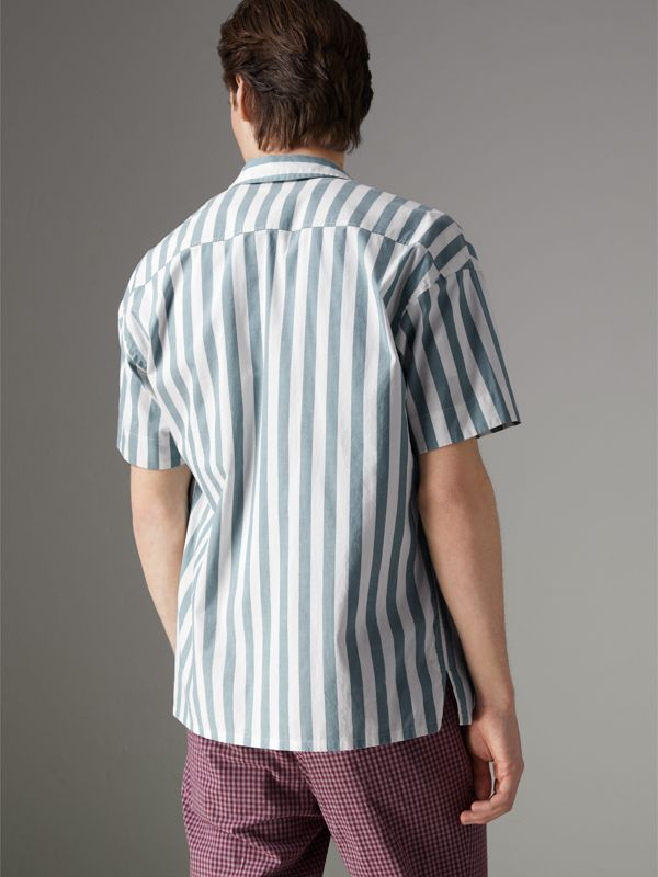 Short-sleeved Striped Cotton Shirt in Pale Opal - Men | Burberry - cell image 2