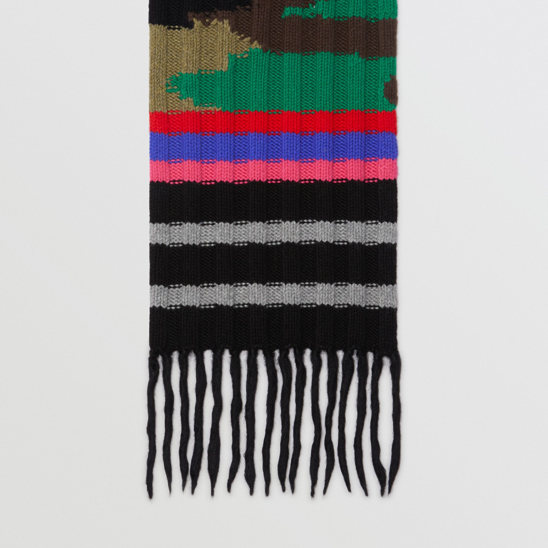 Striped Camouflage Chunky Knit Cashmere Wool Scarf in Multicolour | Burberry Australia - gallery image 2