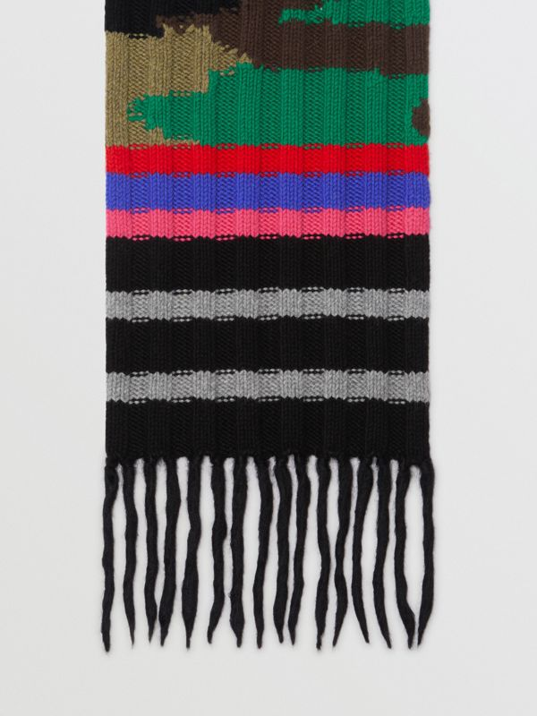 Striped Camouflage Chunky Knit Cashmere Wool Scarf in Multicolour | Burberry Australia - cell image 2