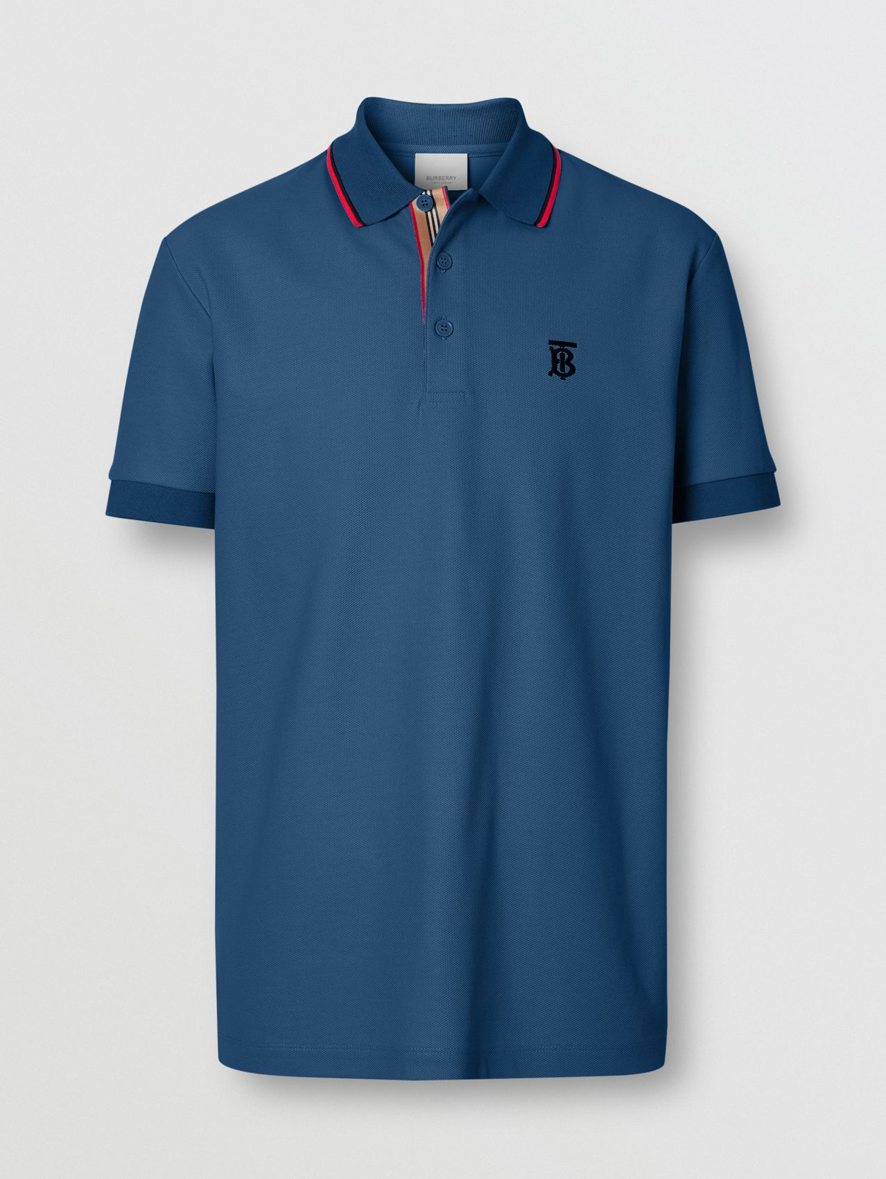 Monogram Motif Cotton Piqué Polo Shirt in Dark Cerulean Blue