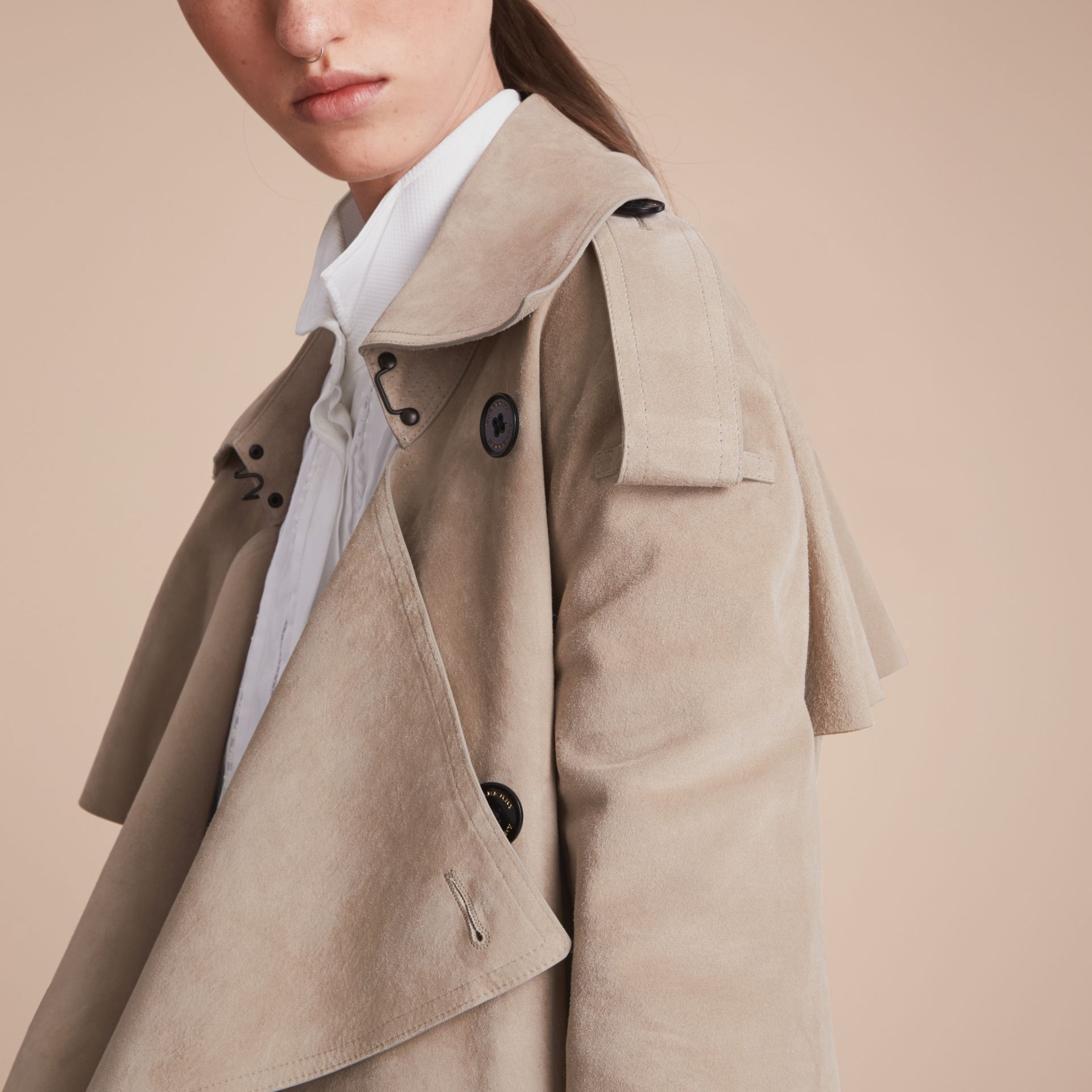 Suede Asymmetric Trench Coat - Women | Burberry - gallery image 6