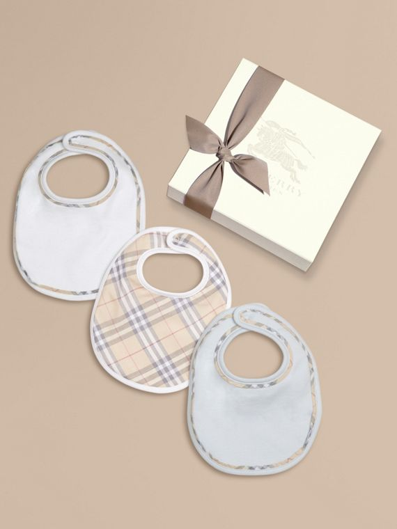 Check Cotton Three-Piece Baby Bib Gift Set Ice Blue