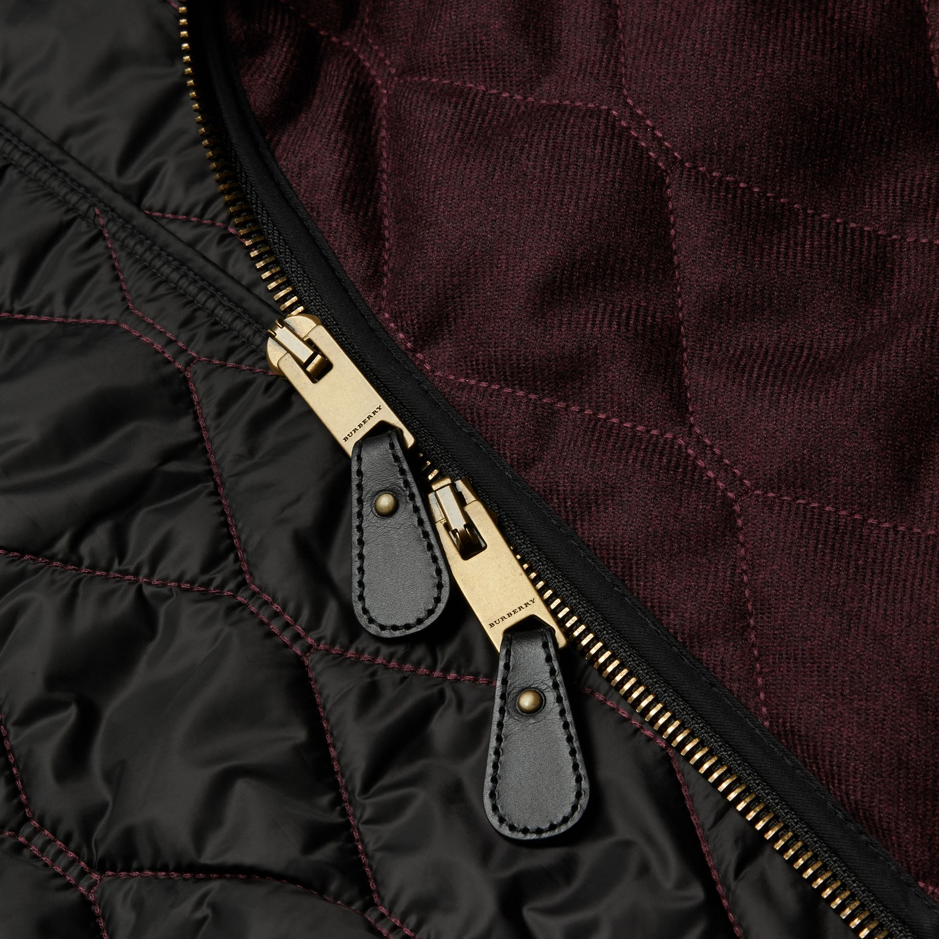 Deep burgundy mel Military Quilt Wool Jacket with Shearling Collar - gallery image 2