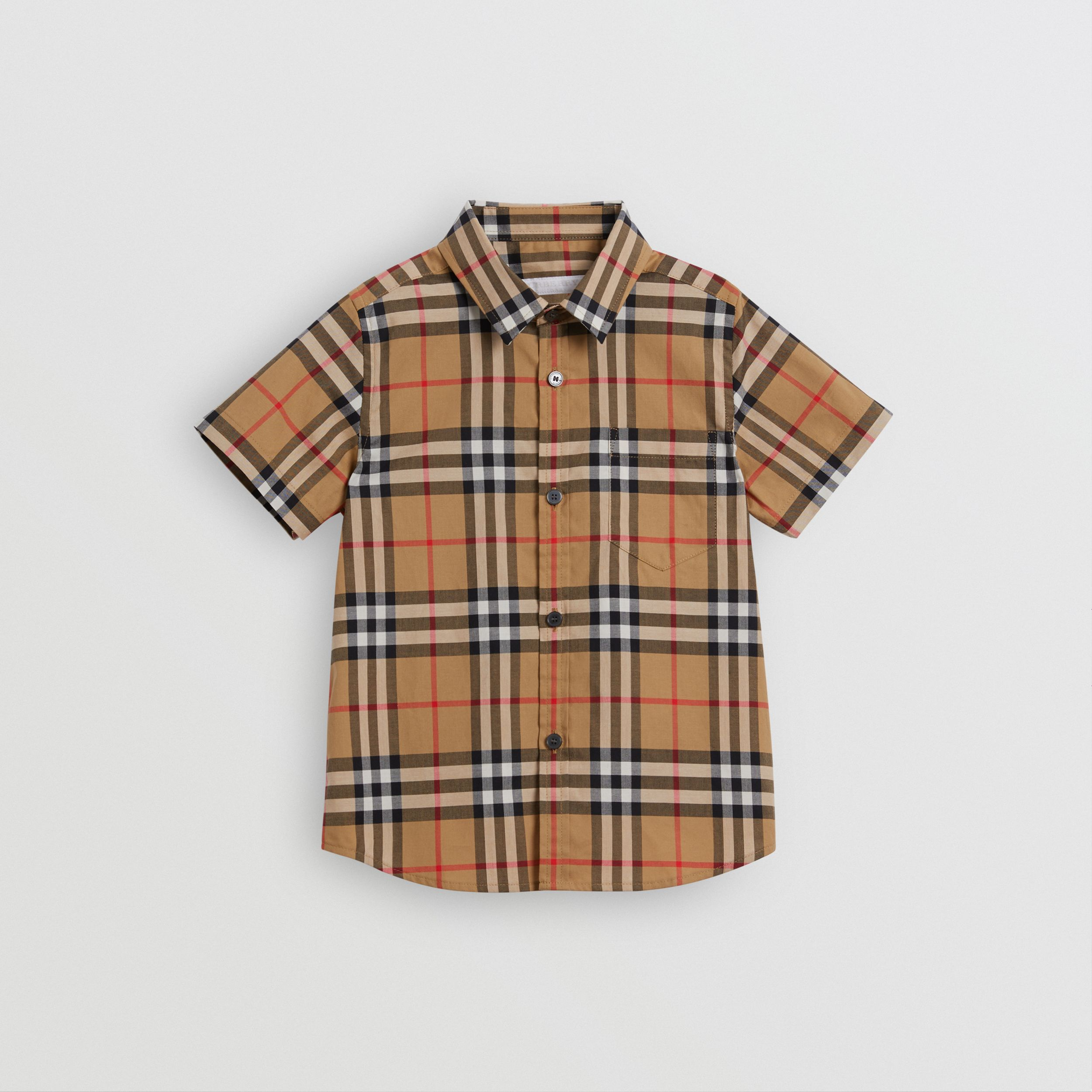 Short-sleeve Vintage Check Cotton Shirt in Antique Yellow - Boy | Burberry - 1