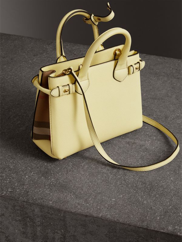 The Small Banner in Leather and House Check in Camomile Yellow - Women | Burberry - cell image 3