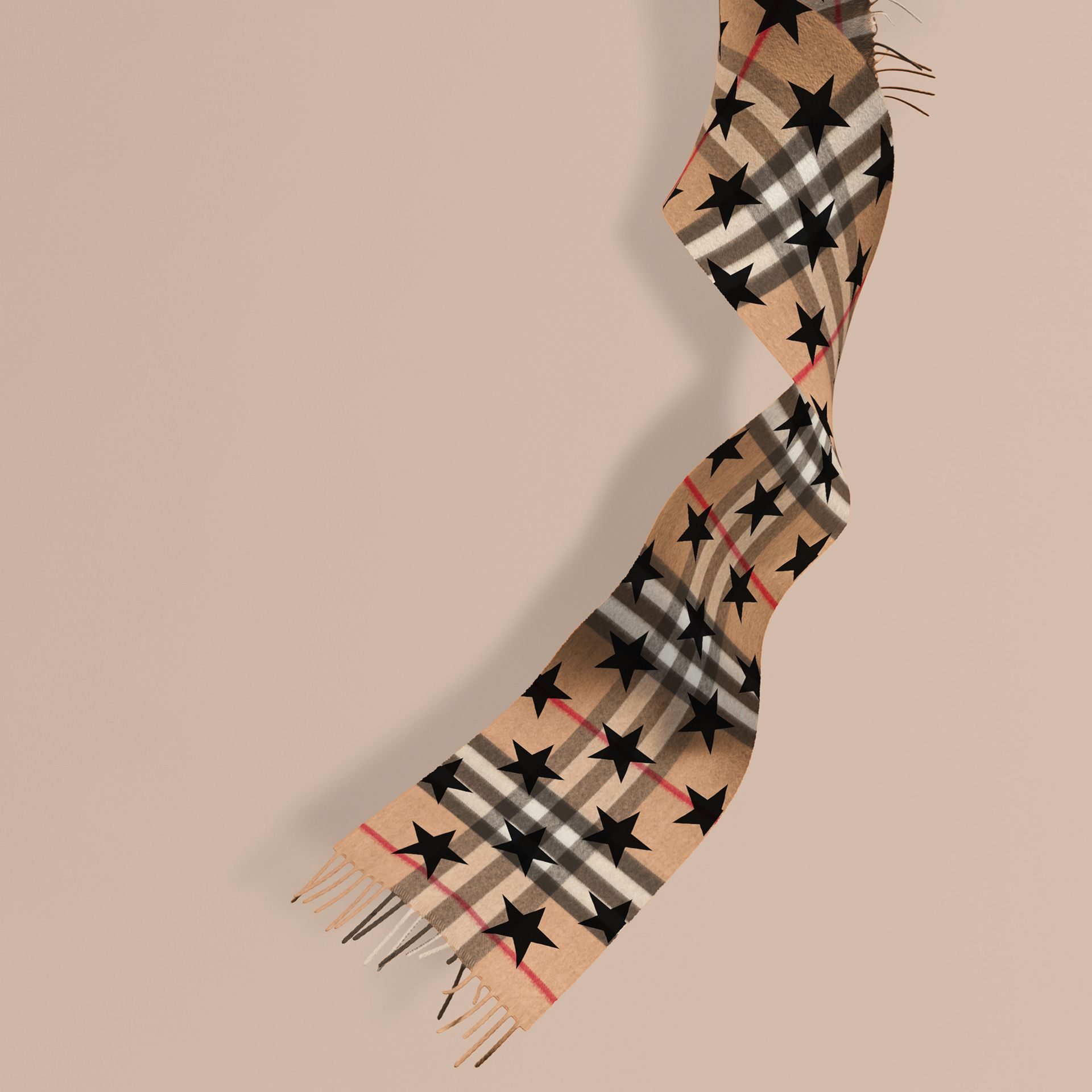 Black The Mini Classic Cashmere Scarf in Check with Star Print Black - gallery image 1