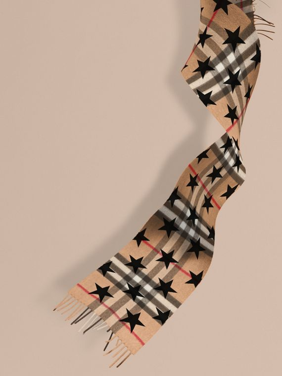 The Mini Classic Cashmere Scarf in Check with Star Print in Black