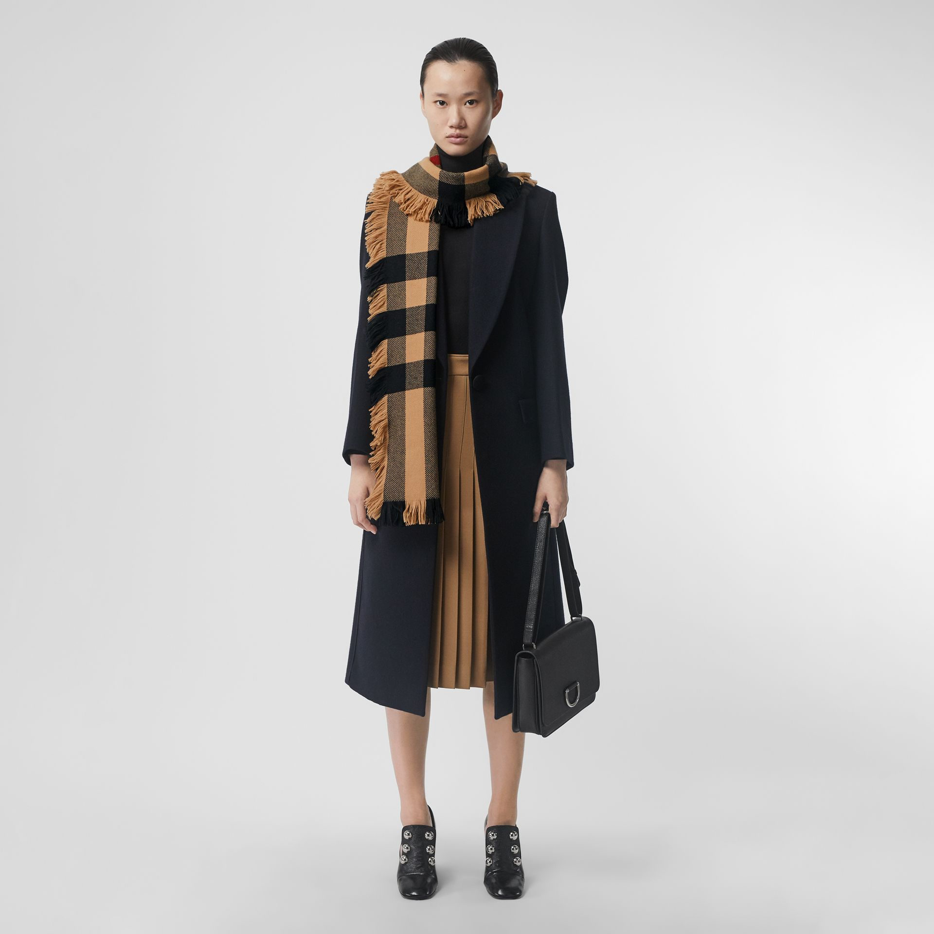 Fringed Check Wool Scarf in Camel | Burberry Singapore - gallery image 2