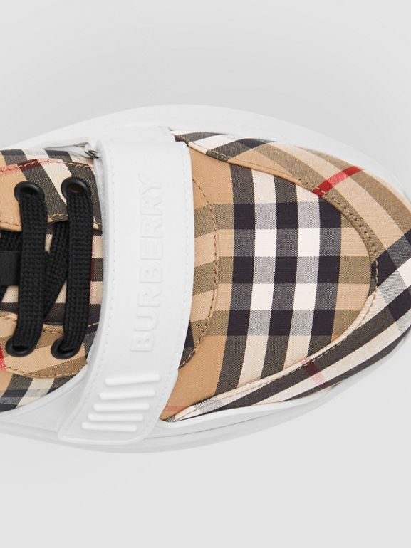 Vintage Check Cotton Sneakers in Archive Beige - Men | Burberry United Kingdom - cell image 1