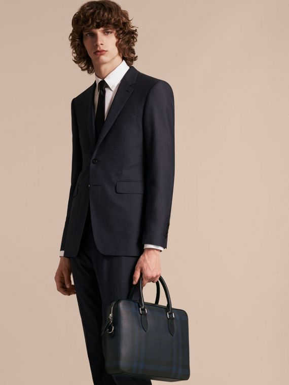 Medium Leather Trim London Check Briefcase in Navy/black - Men | Burberry Australia - cell image 2
