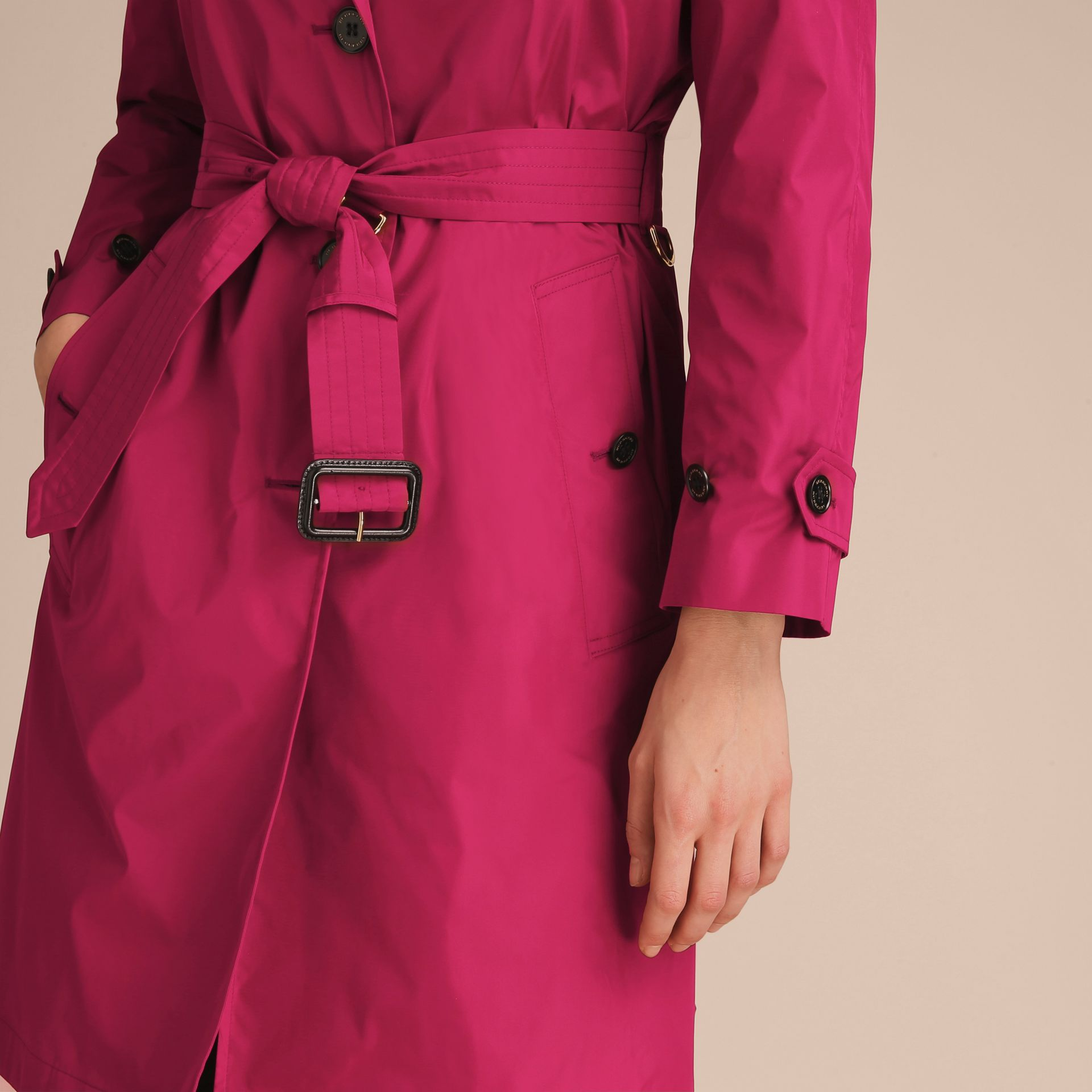 Single-breasted Technical Trench Coat Damson Magenta - gallery image 5