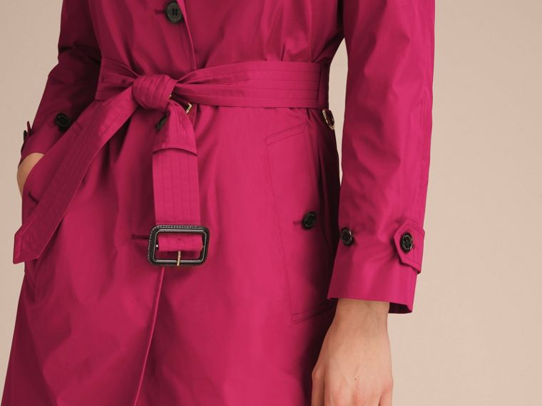 Single-breasted Technical Trench Coat Damson Magenta - cell image 4